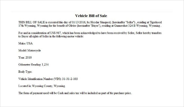 Sample Motorcycle Bill Of Sale | Bill Of Sale Example For Motorcycle Thevillas Co