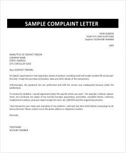 how to write a formal complaint letter formal complaint letter