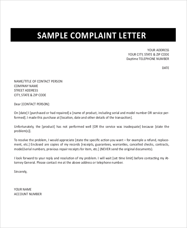 how to write a formal complaint letter