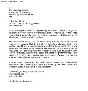 how to write a formal complaint letter how to write a formal apology letter