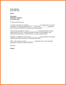 how to write a legal letter letter to colleague co worker reference letter