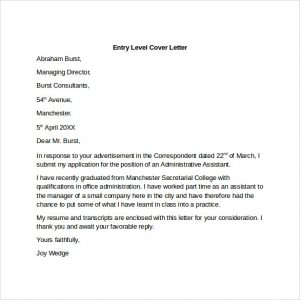 how to write a letter of application entry level cover letter to print