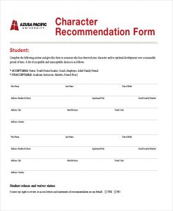 how to write a reference letter for someone character recommendation form