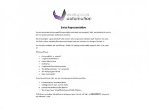 how to write an application workspace automation job advertisement e