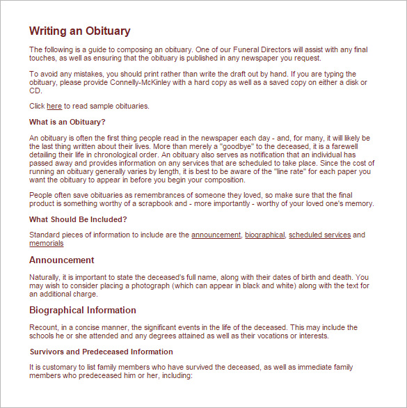 Help writing obituary