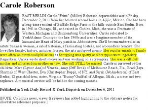how to write an obituary for mother roberson obituary notice
