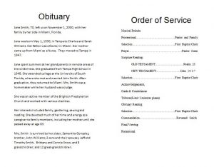 how to write an obituary sample funeralmemorialprogram