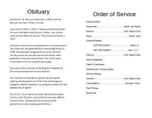 how to write an obituary sample funeralmemorialprogram