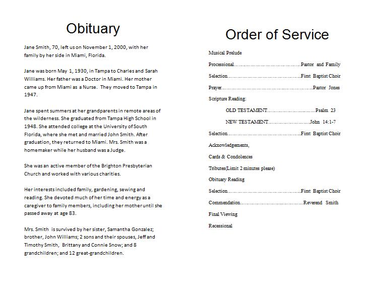 how to write an obituary sample