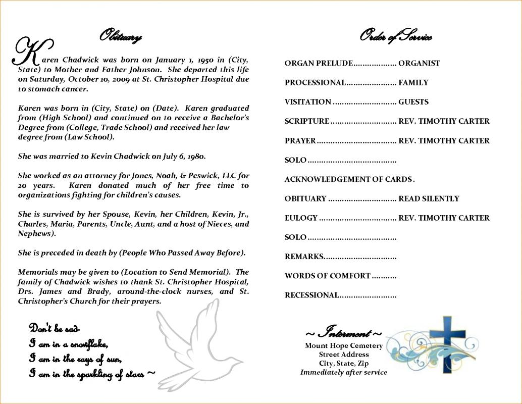 Example Of Obituary Format Ibovnathandedecker
