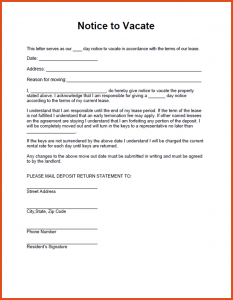 how to write letter of intent notice to vacate template notice to vacate property