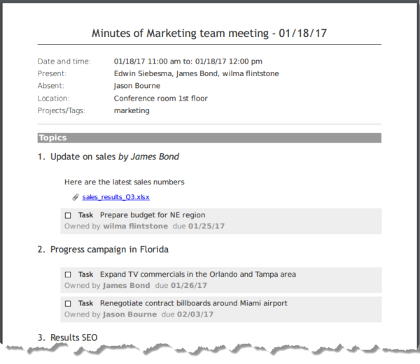 how to write meeting minutes