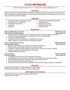 hvac resume samples hvac and refrigeration maintenance janitorial modern