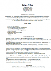 hvac resume samples hvac and refrigeration resume