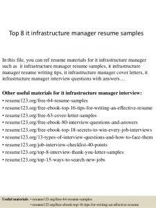 hvac resume samples top it infrastructure manager resume samples