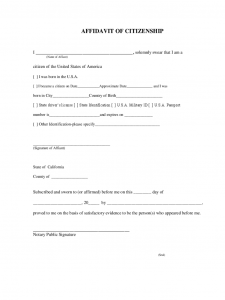 immigration letter of support affidavit of citizenship california d