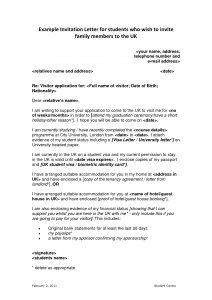 immigration letter of support for a family member immigration invitation letter sample invitation letter uk visa application