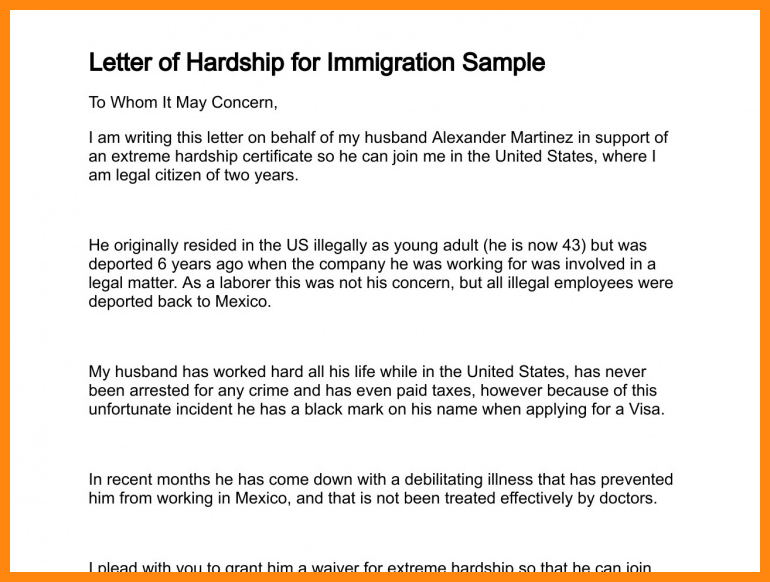 immigration letter of support for a family member