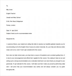 immigration letter of support thank you letter for a letter of recommendation