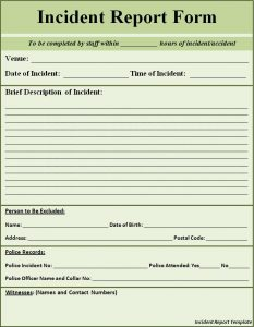 incident report example incident report template