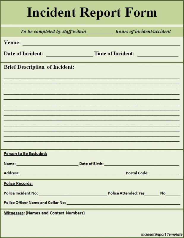 incident report form template word