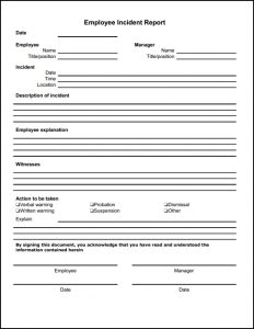 incident report sample employee incident report form