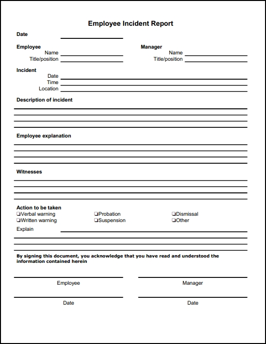 Incident Report Sample  Template Business