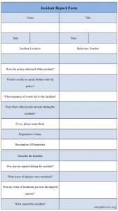 incident report sample incidentreportformtemplate