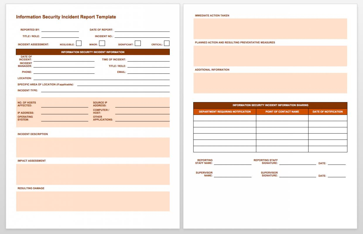incident report template word template business. Black Bedroom Furniture Sets. Home Design Ideas