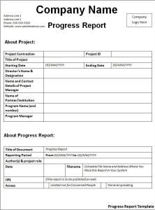 incident report template word progress report template