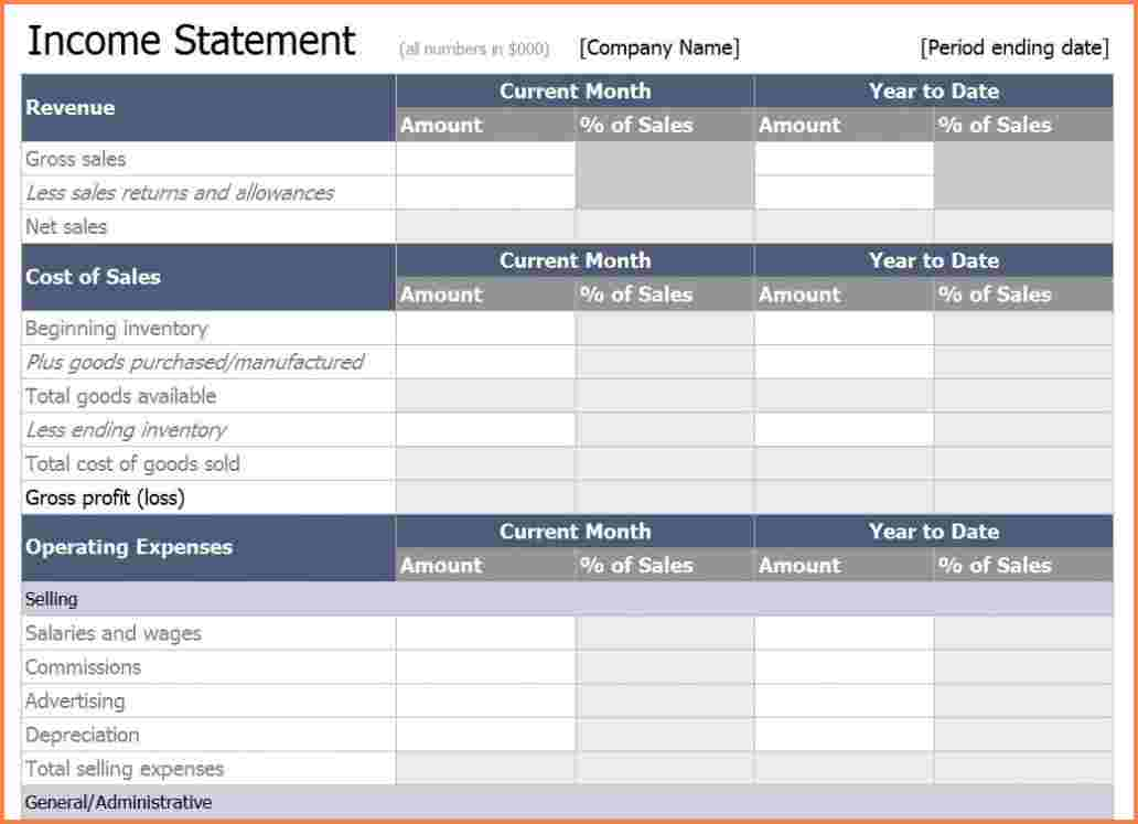 Income Statement Excel | Template Business