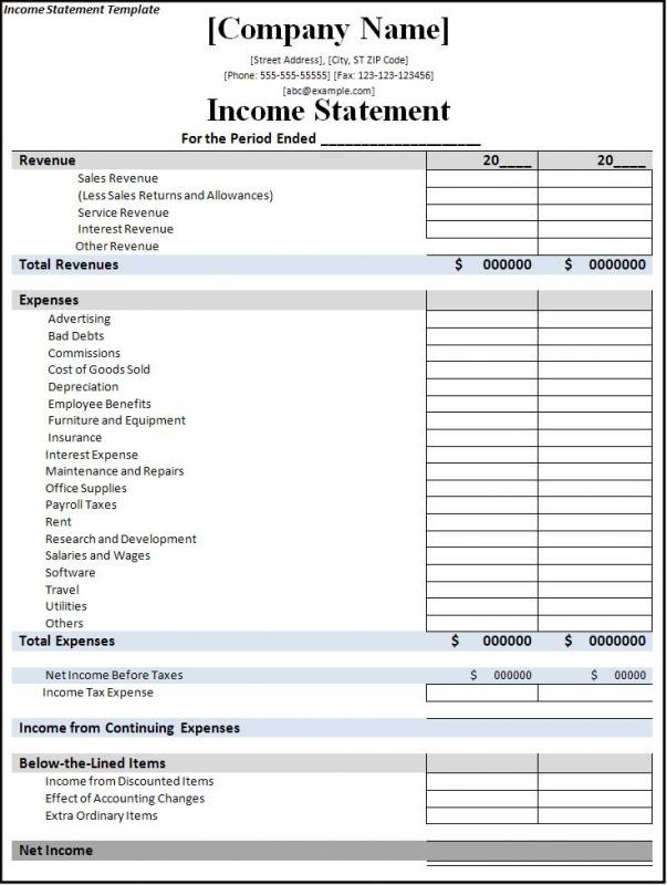 Income Statement Template  Template Business