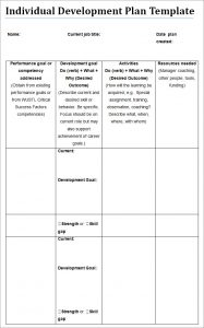 individual development plan development plan individual template