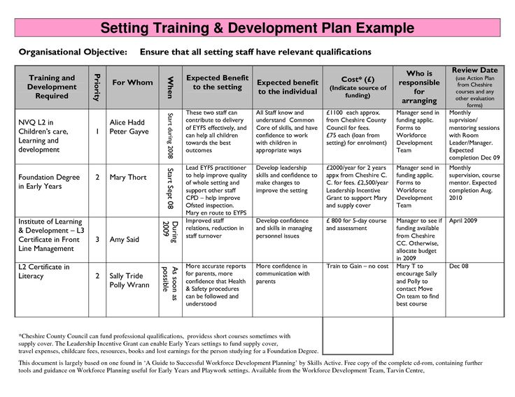Individual Development Plan Examples Template Business