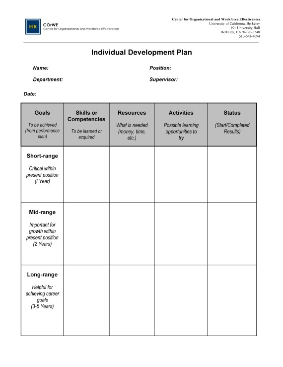 how to write an individual development plan