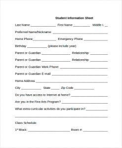 information sheet template student information sheet template