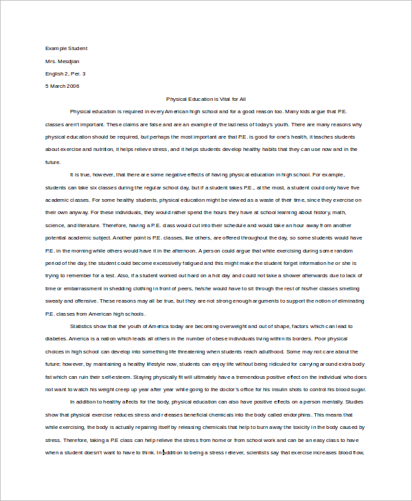 informative essay example