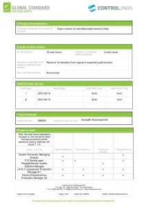 inspection report template audit report brc