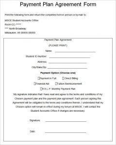 installment payment agreement payment plan agreement form