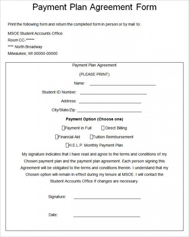 Installment Payment Agreement  Template Business