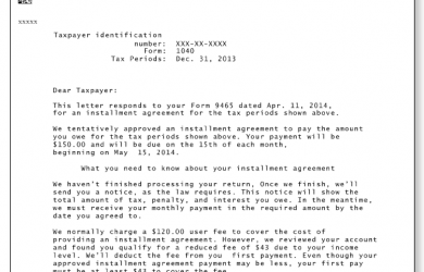 installment payment agreement template irs audit letter c sample a