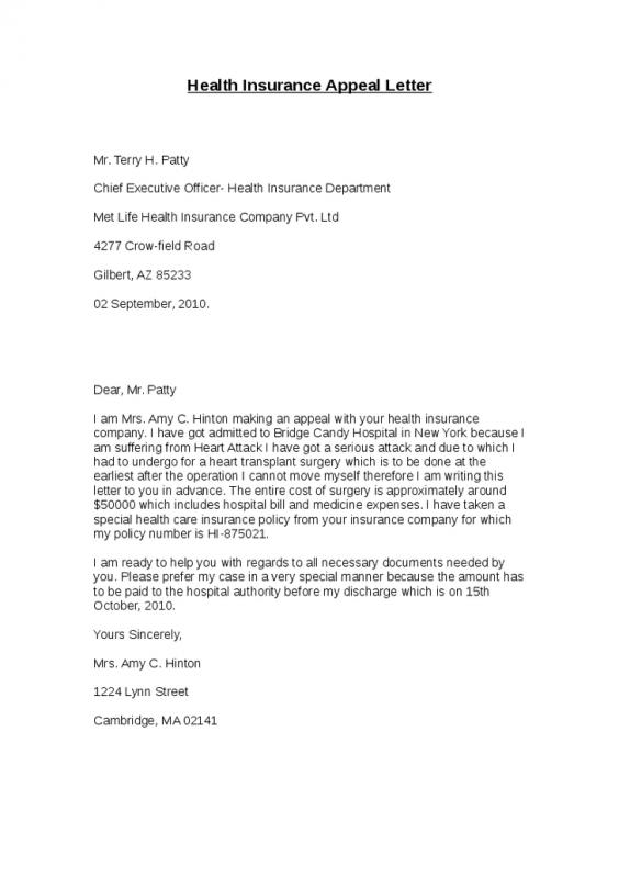 Insurance appeal letter template business insurance appeal letter thecheapjerseys Gallery