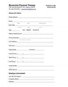 intake form template calgary physiotherapy workers compensation intake form
