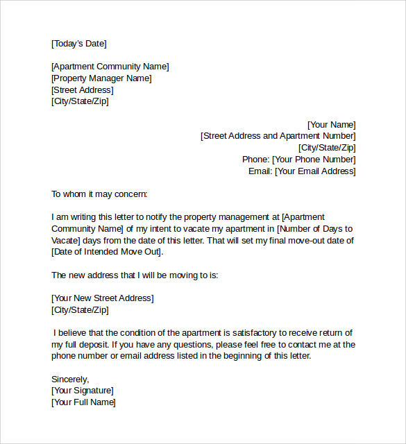 Sample Notice Letter To Vacate Apartment