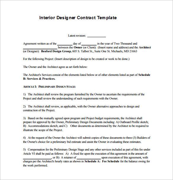 interior design contract