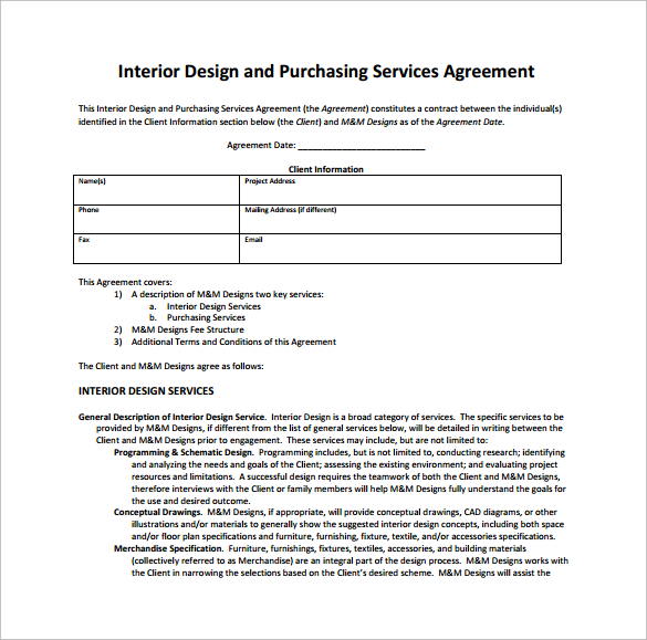 Interior Design Contract Template Business