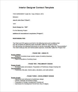 interior design contract interior design contract template pdf download