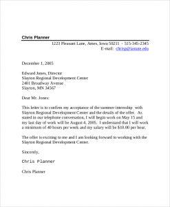 intern offer letter summer internship offer acceptance letter