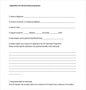 internship application template application for un internship programme word document free download