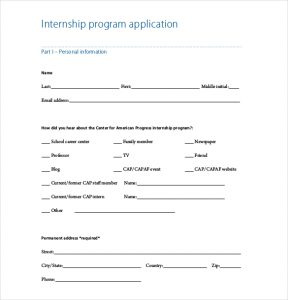 internship application template internship program application template free download